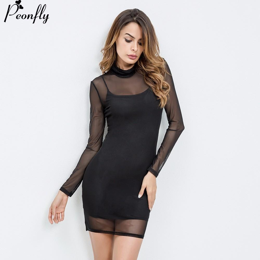66bd0106c7b 2019 PEONFLY Sexy Bandage Dress Black Dress Long Sleeve Mesh Patchwork  Hollow Out Pencil Bodycon Female Dresses From Keviny