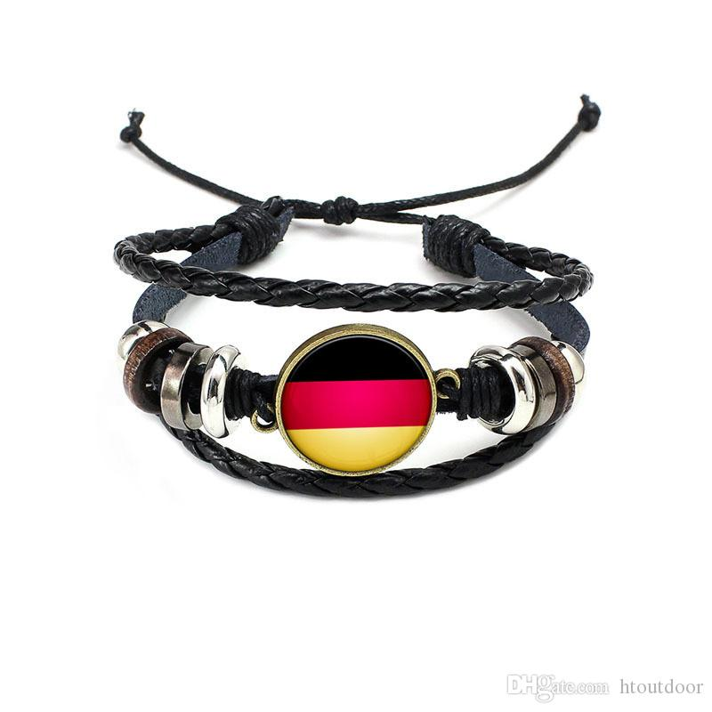 2018 Football World Cup National Flags Charm Bracelet Bangles Leather Braided Rope Bracelet Beads Wristband Cuff Women Men Gift