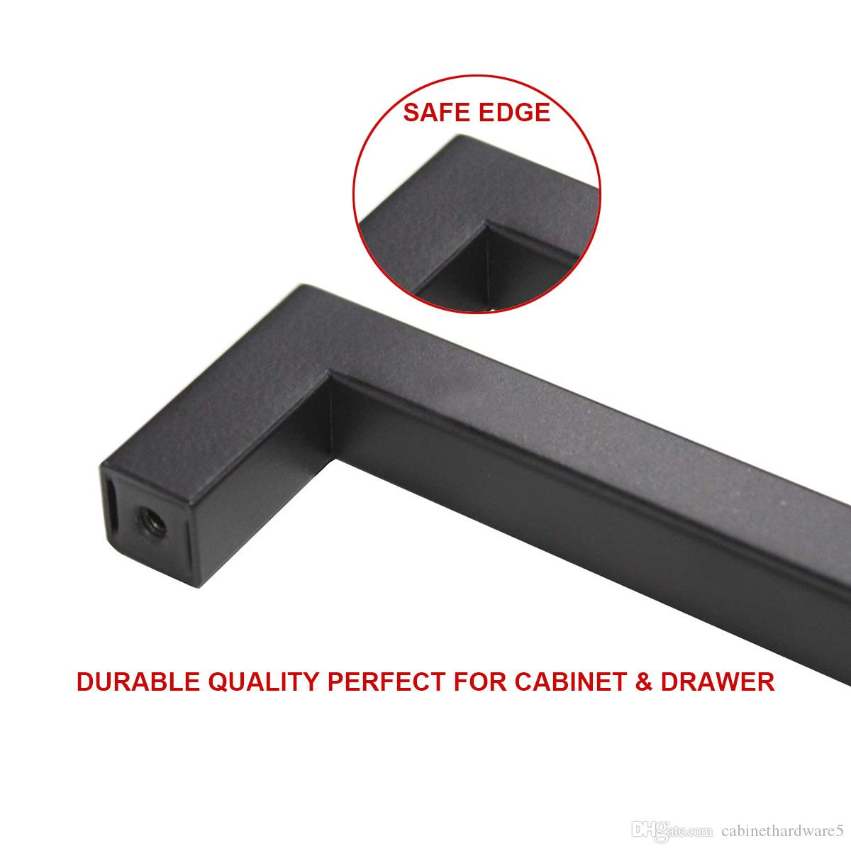 Cabinet Handles Matte Black 5 inch 128mm hole Centers Kitchen Furniture Pulls Stainless Steel Square Bar Cupboard Door Drawer Knobs