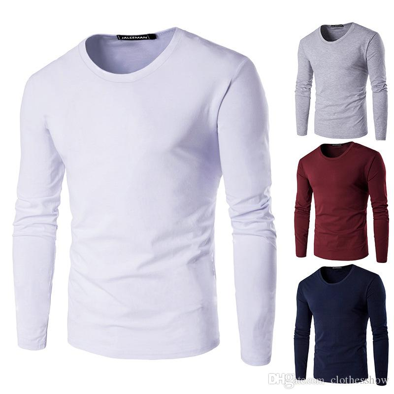94781146f45 Men Long Sleeve Plain T Shirt Autumn Spring Slim Fit Crew Neck Casual Shirt  Top Basic Sweatshirt Solid Color Humor T Shirts Funky T Shirt From  Clothesshow