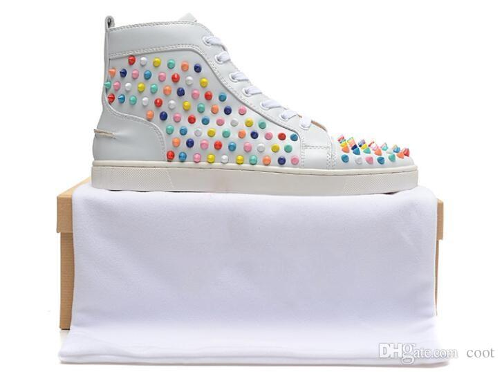 6640d7f3463e 2018 Designer High Top red bottom Studded Lace Up Causal Shoe Man Woman  Cheap Sneaker blazing with colour Flat Bottom Party Shoes Size 35-46