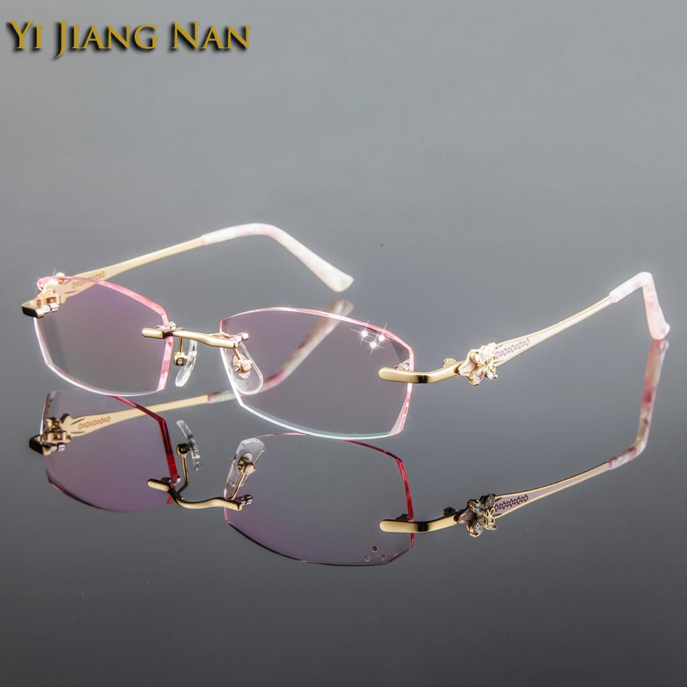 86261ea5da2f 2019 Yi Jiang Nan Brand Diamond Titanium Frames Tint Lenses Rimless Pink Eye  Glasses Frames Fashion Women Dioptr Occhiali Da Vista From Value111, ...