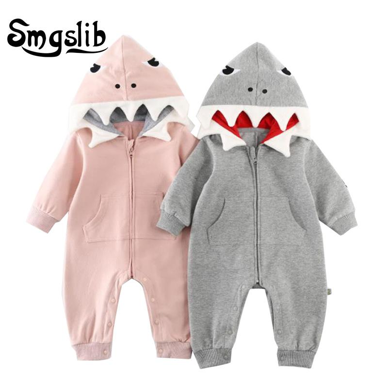 5bcf75d7378 Newborn Infant Baby Boy Romper Hooded 3D Shark Dinosaur Costume Baby ...