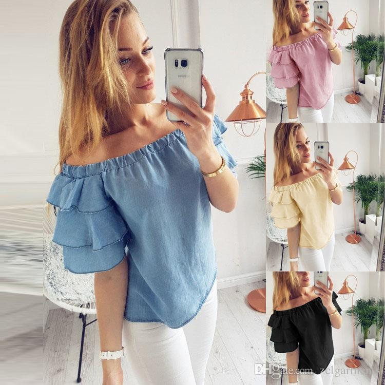 d464d8bde7f3a 2019 Sexy Womens Off Shoulder Blouse Shirt Summer Tops Casual Stretch Flare  Sleeve Shirts Plus Size Female Blouses From Zclgarments