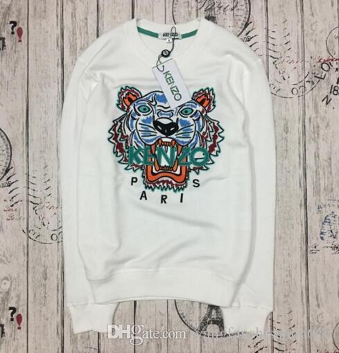 38b44782d 2019 Designer Luxury Brand Kenz Tiger Head Embroidered Men Women Sweatshirts  Cotton Autumn Winter Unisex Hoodies Streetwear Jogger Tracksuits From ...