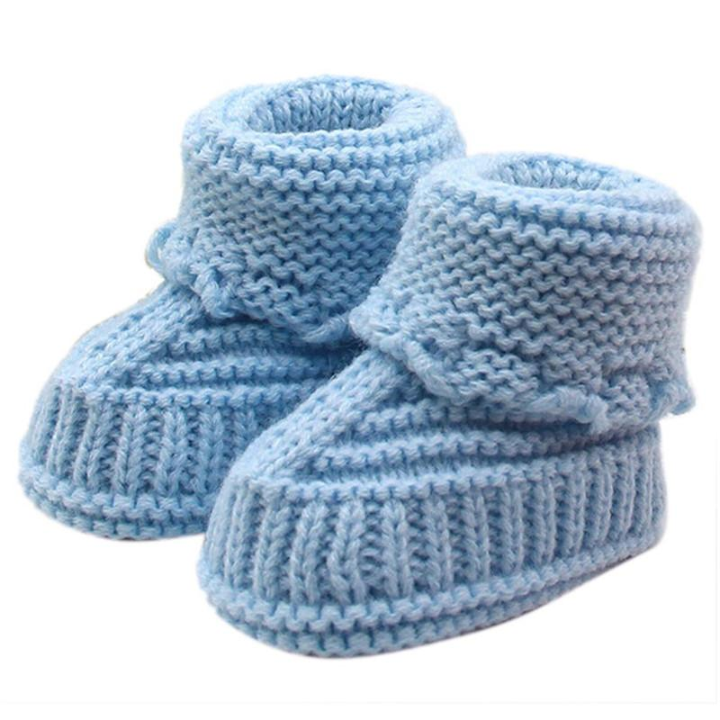 Woolen Baby Shoes Infants Crochet Knit Fleece Boots Bowknot Toddler Girl Boy Wool Snow Crib Shoes Winter Booties 0-6 months baby