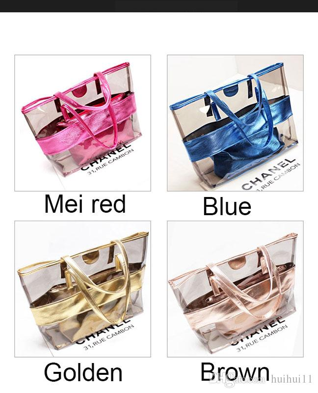 2018 summer new style PVC transparent waterproof bag + crystal jelly single shoulder mother casual beach bag optional 38X32X11cm