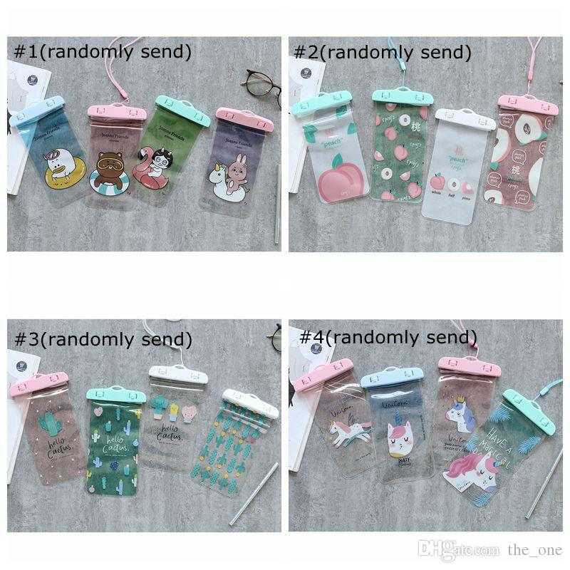 Cactus joanna friends peach Unicorn Card Holder lanyard With Neck Rope Girls Cell Phone Bags Pouch PVC Beach Purse Money Wallet