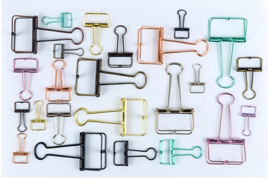 3 Size Metal Wire Binder Clips, Office Supplier School Accessories, Colorful Hollow Out Paper Organizer, Multicolor Paper Binder Clip