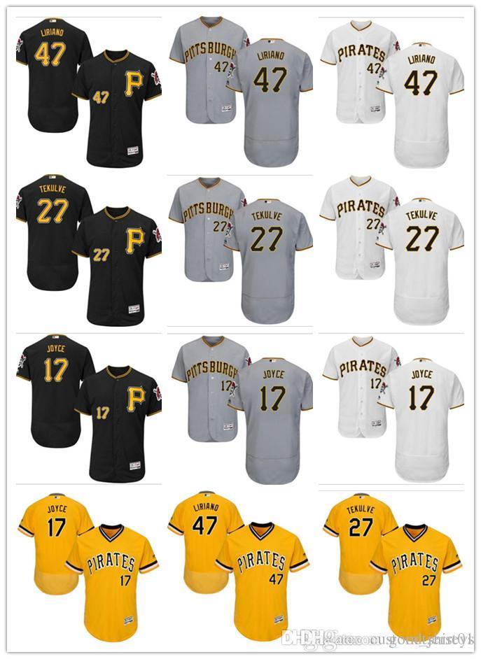 size 40 3f0cf 064b8 custom Men women youth Pittsburgh Pirates Jersey #17 Matt Joyce 27 Kent  Tekulve 47 Francisco Black Yellow Grey Baseball Jerseys