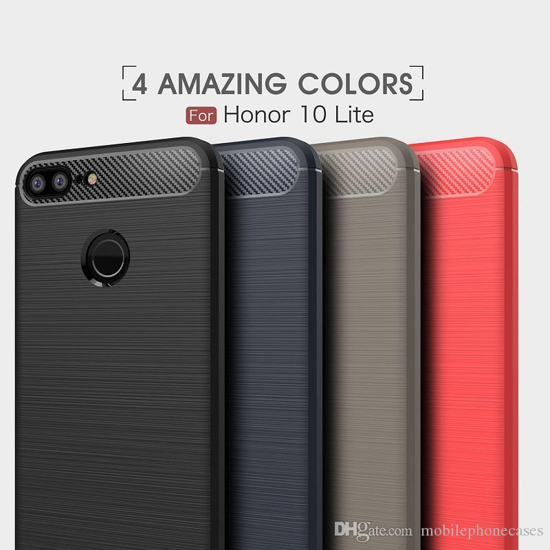 Wholesale CellPhone Cases For Huawei honor10 Luxury Carbon Fiber heavy duty case for Huawei honor10 Lite cover Free DHL shipping
