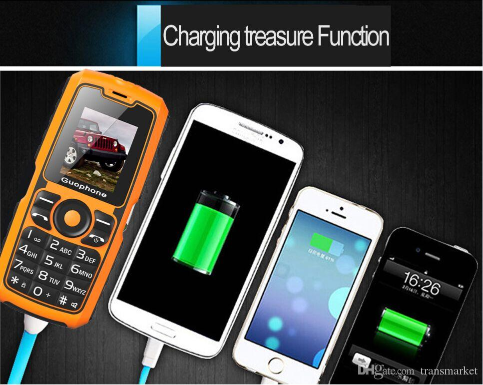 2018 New Guophone V3S Real WaterProof Power Bank Phone Shockproof Loud Speaker Strong Flashlight Dual SIM 1.8 inch Cheap Phone