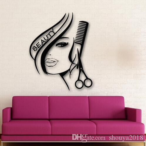 Sexy Girl Wall Stickers fashion Hair Beauty Salon Barbershop Sexy Girl Advertising Wall paper