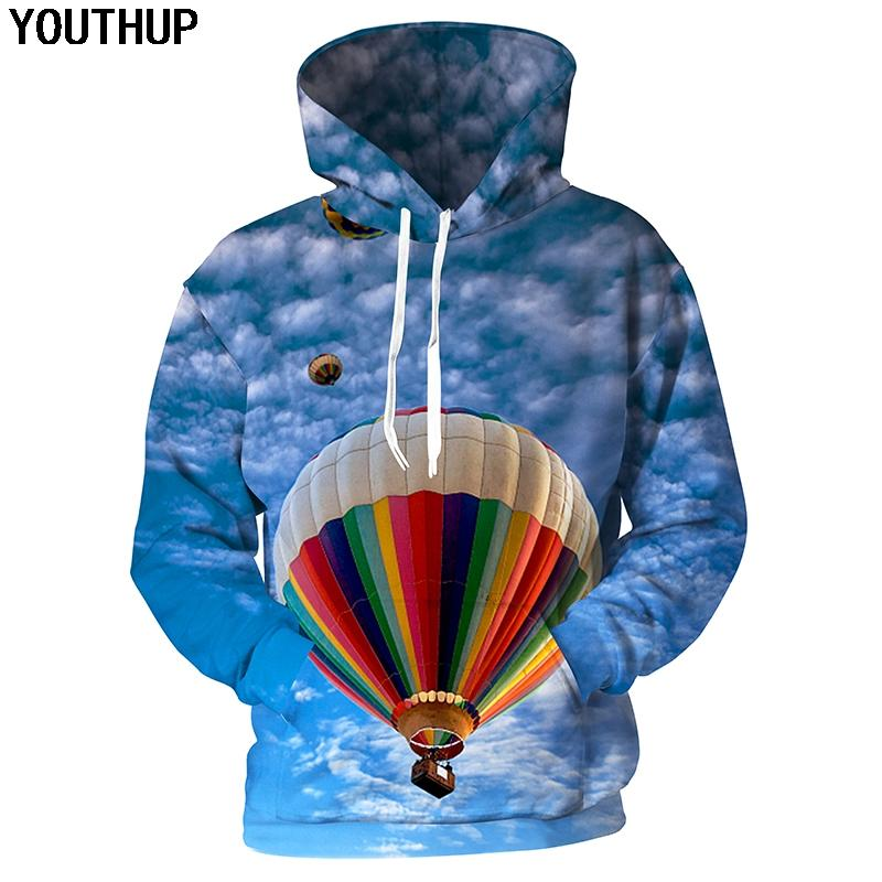 0d7b1e851505 2019 YOUTHUP 2018 Sky 3d Hoodies Men Hooded Sweatshirts Men Fire Balloon Print  Hoodies Unisex Casual Funny 3d Pullover Tracksuits From Edward03