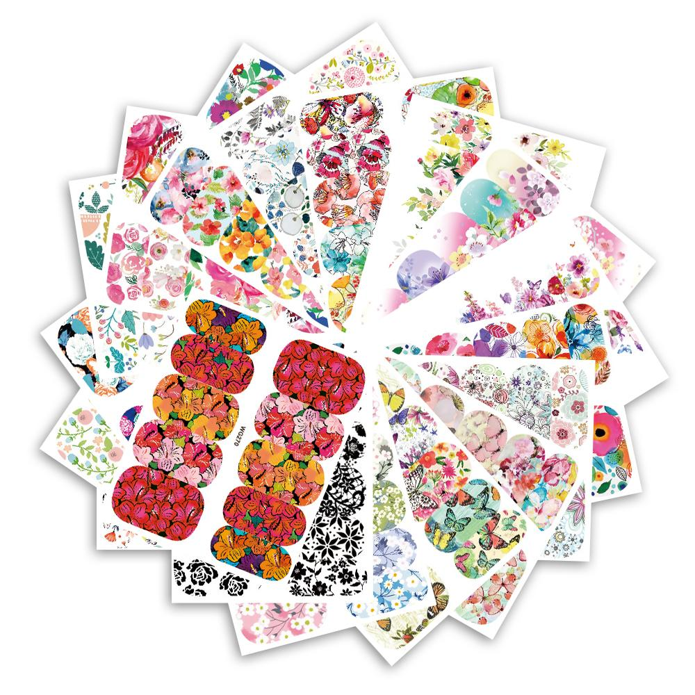 Full Beauty 25 Sheets Flower Series Nail Water Decals Stickers Full