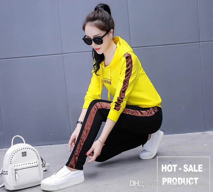 c598e7b9fd6cf 2018 new sports suit female two-piece suit (top trousers) fashion Korean  casual large size loose sweater suit female tide