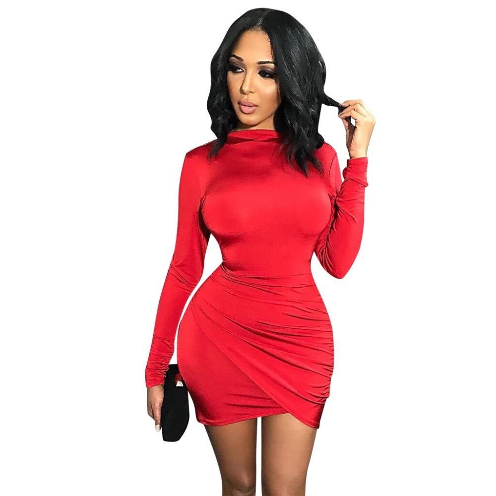 a16f27f07c2 Fashion Autumn Winter Women Sexy Dresses Long Sleeve Solid Color ...