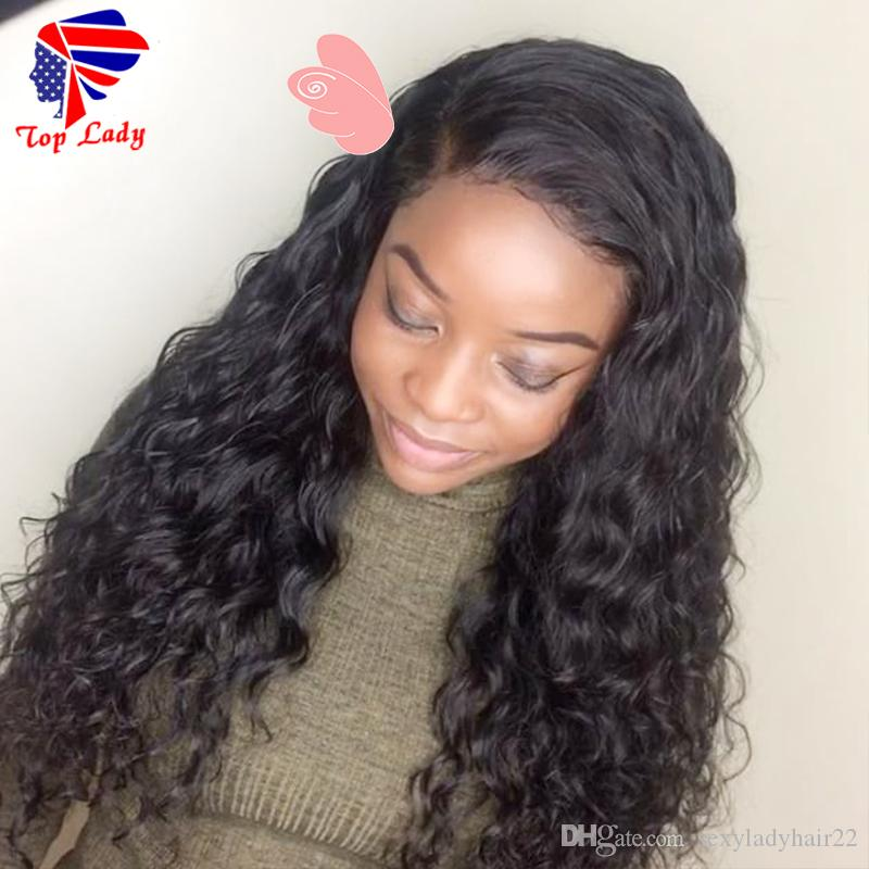 High quality side part Long Curly brazilian wig Glueless Heat Resistant Synthetic Lace Front Wig With Baby Hair For African American Wigs