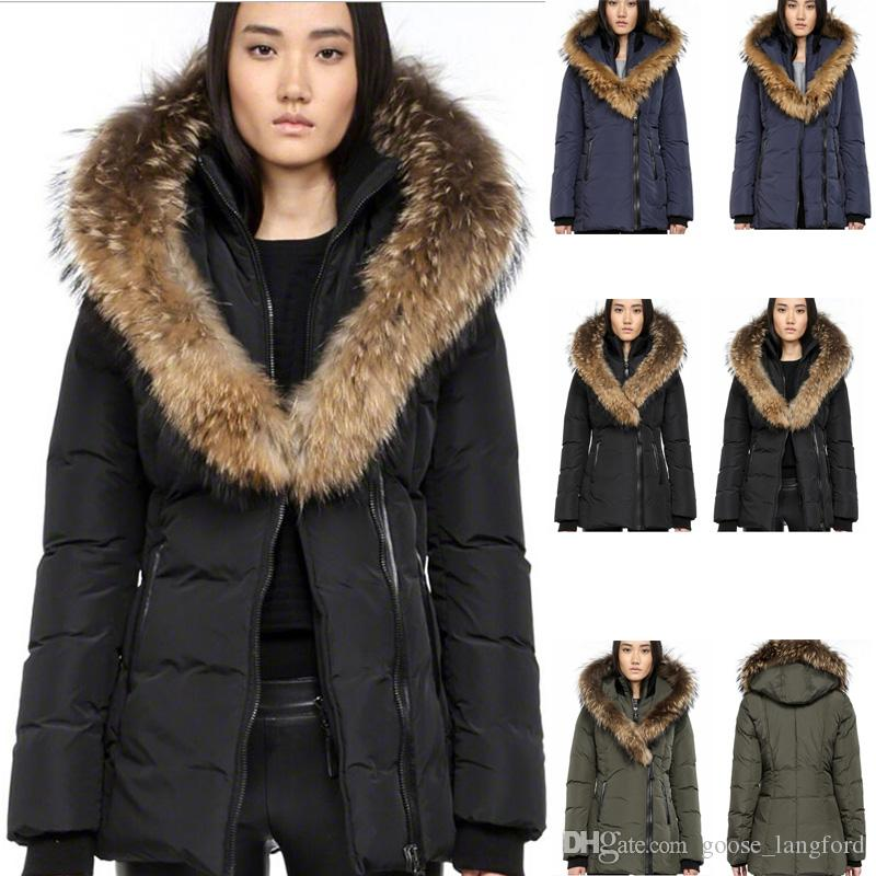 f0771556fa59 2019 Canadian Women S Brand Mac F4 Adali Fitted Raccoon Fur Collar Women S  Down Parker Coat Down Jacket For Women Outdoor 20 Degrees Cold Warm From ...