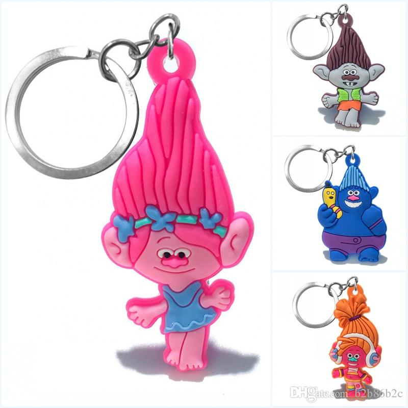 Wholesale Order Trolls Poppy Biggie DJ Suki High Quality Bright Color Cartoon PVC Keychain Key Ring Bag Cute Accessory Kawaii Party Favor