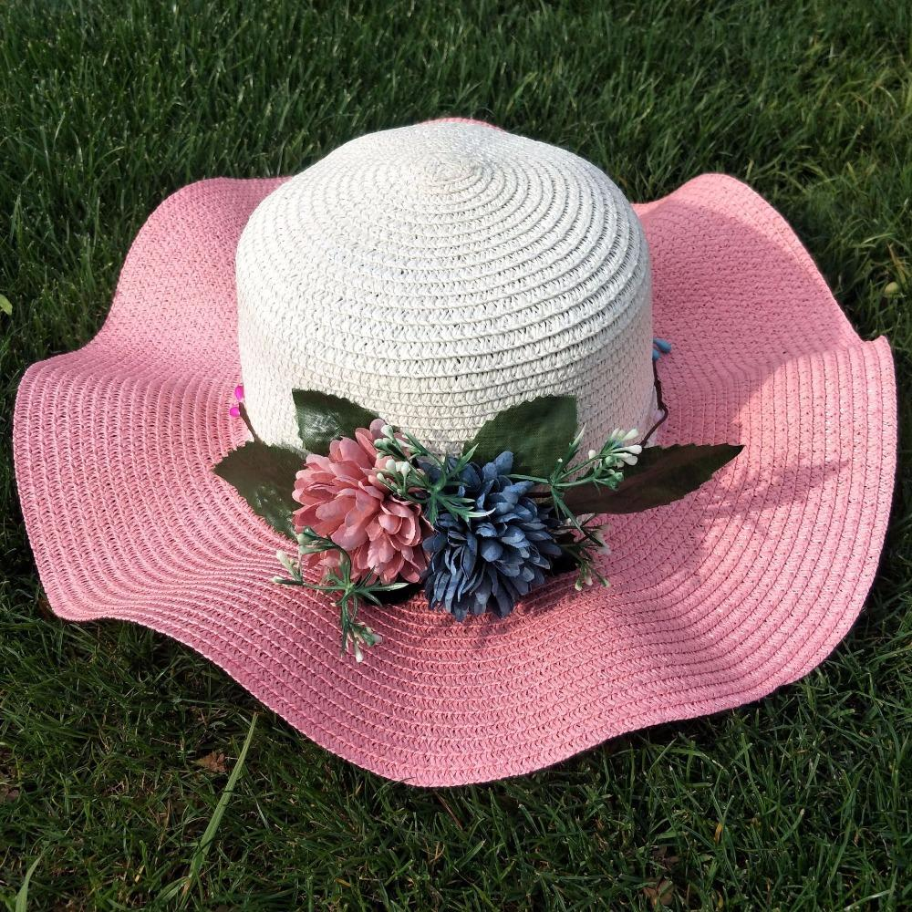 755197a8 The New Women's Summer Sunshade Sunshade Sunhat Flower Wave Brim Along The Straw  Hat Beach Hats Visor Hats Boater Hat From Haydene, $34.08| DHgate.Com