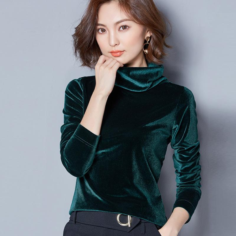 speical offer buy real attractive style Turtleneck Velvet Tops Women Long Sleeve T Shirts Solid Color 2018 spring  Autumn Velour T-Shirts Women Basic Shirt