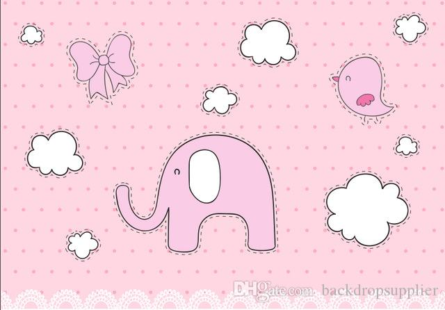 2018 7x5ft Light Pink Polka Dots White Clouds Elephant Girl Baby