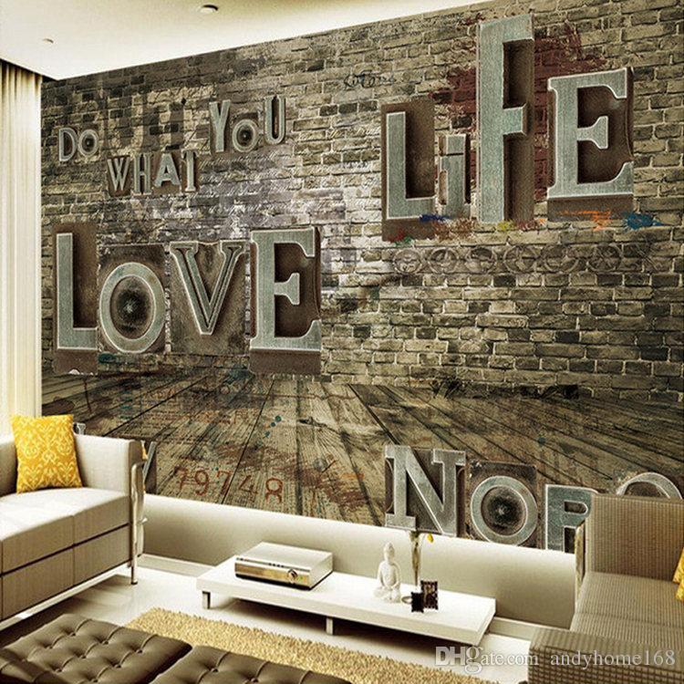 Customized European Retro 3D Stereoscopic Relief Brick English Alphabet Wall Paper Bar Restaurant Living Room Mural Wallpaper