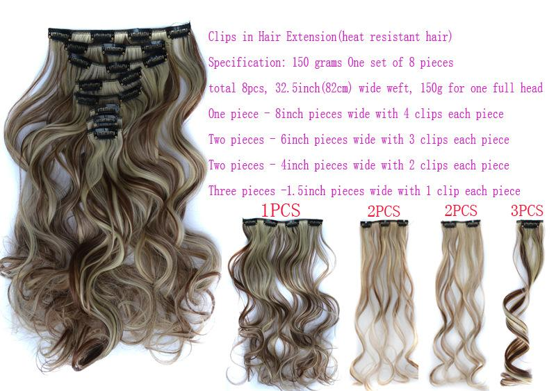 "24"" curly hair set for full head clips in hair extensions available clips hair pieces"