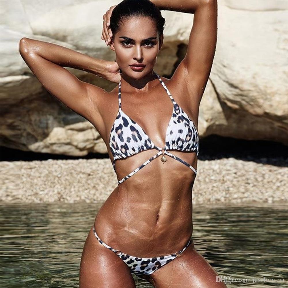 여성 여름 해변 해변 비키니 세트 브래지어 팬티 세트 수영복 레오파드 섹시한 비키니