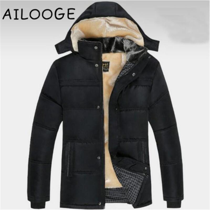 big sale 85d44 83461 2018 Parka uomo moda Large size giacca invernale uomo solido nero spesso  giacche invernali fodera in lana con cappuccio caldo giù cappotti di cotone