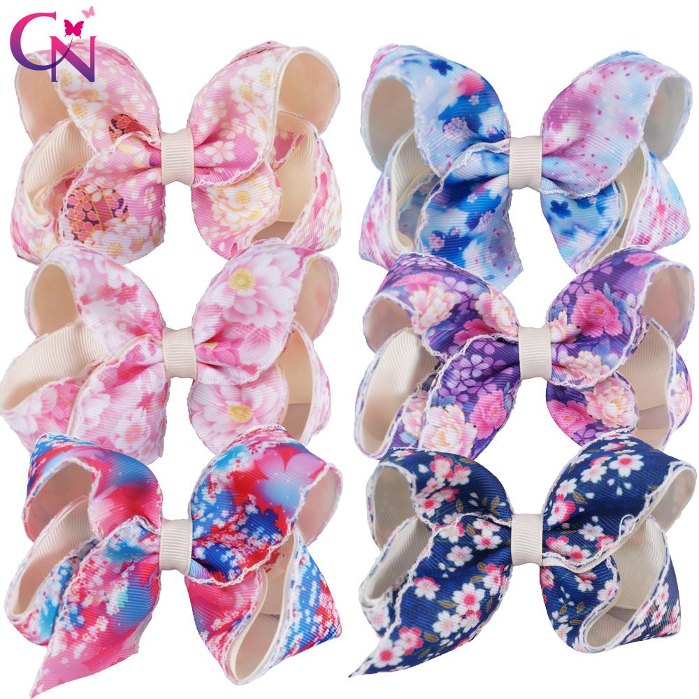 4d57cc04e4d57d  4 .5 Floral Hair Bows With Clips For Kids Girls Handmade Sewn Flower Print  Ribbon Bows Hairgrips Hair Accessories Wedding Hair Accessories Flowers  Girls ...