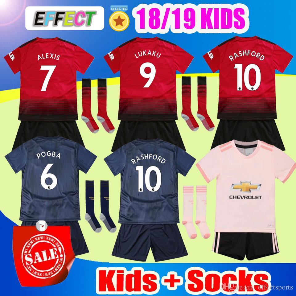 2018 Alexis Manchester POGBA Kids Soccer Jersey Full Set 2019 LUKAKU ... d399bc36f