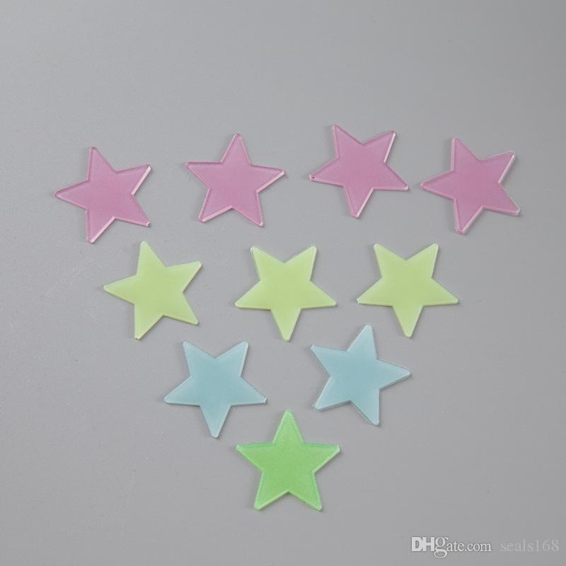 Estrellas luminosas pegatinas de pared fluorescentes 3D con habitaciones Adhesivo de bebé para niños decoración del hogar de la etiqueta del papel pintado decorativo de Navidad HH7-861 regalo