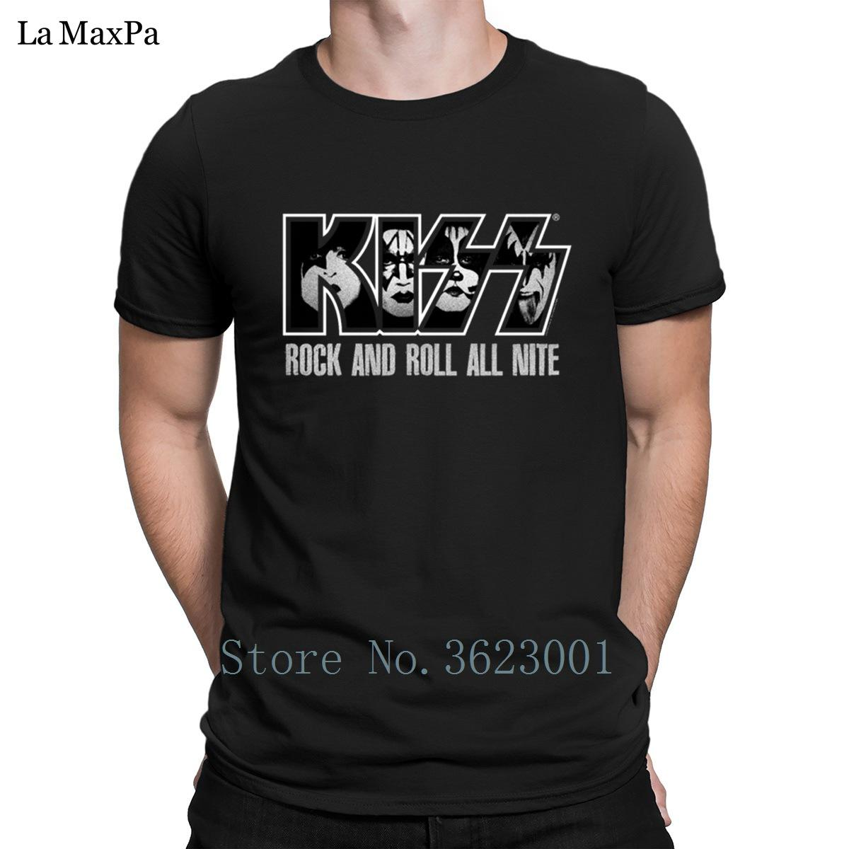 7d13944db Customize Slim T Shirt For Men Summer Kiss Rock And Roll All Night T Shirt  Man Popular Branded Tshirt Crew Neck Tee Shirt Loose Funny It Shirts  Ridiculous ...