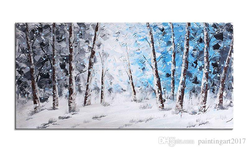 Large Size Aspen Birch Tree Oil Painting Handmade Black Blue Sunset Forest Canvas Wall Art for Living Room Bedroom Decor 48x24inch