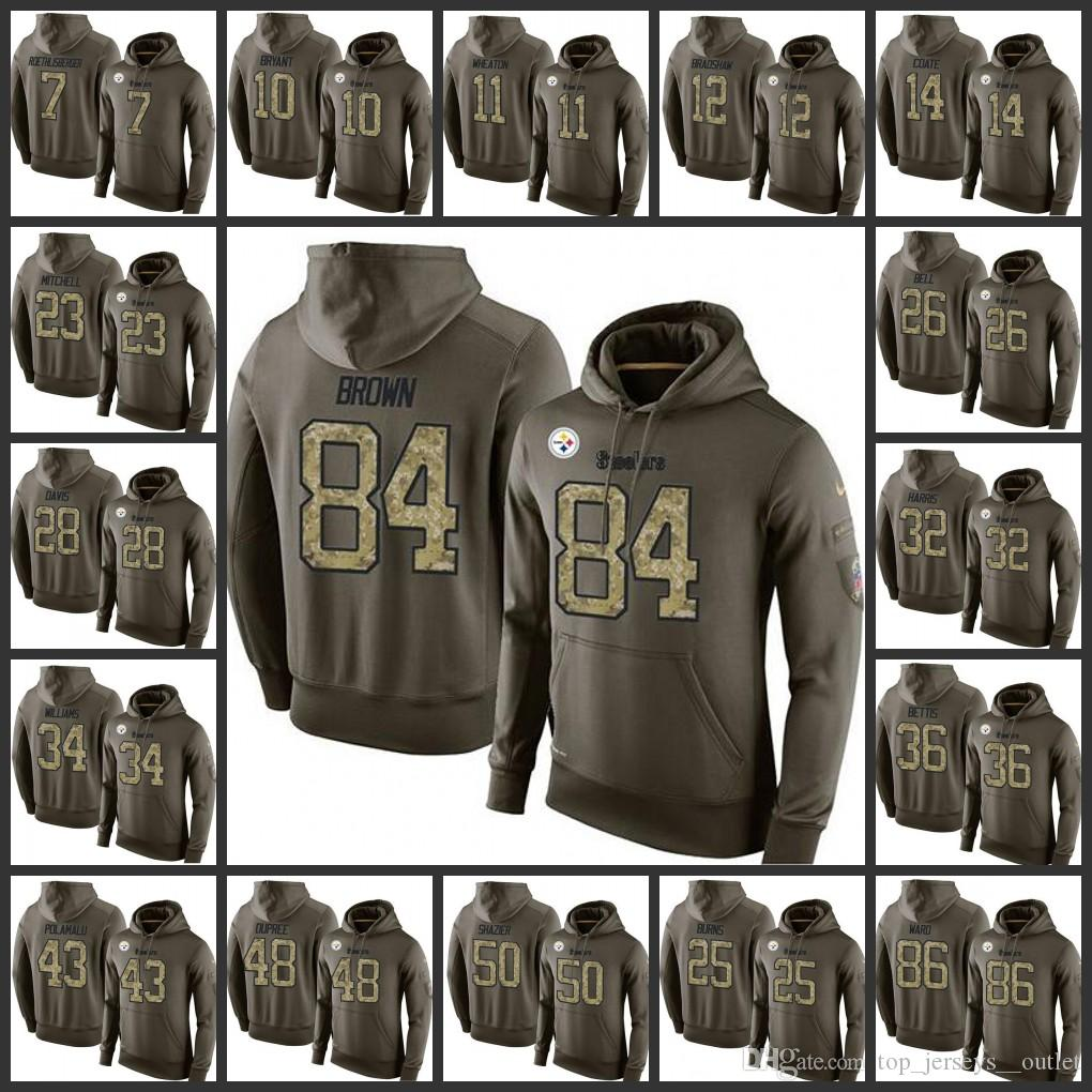 0a2195e50 2018 Pittsburgh Steelers Embroidery Men  7 Ben Roethlisberger 26 Le Veon  Bell 84 Antonio Brown Pullover Hoodie From Top jerseys  outlet