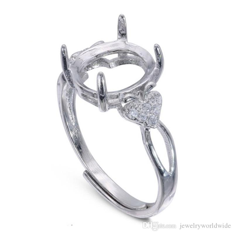 Impostazioni anello semi montante pietra ovale con lato mela CZ Blank Base Solid 925 sterling silver gioielli da sposa sposa damigella d'onore regali