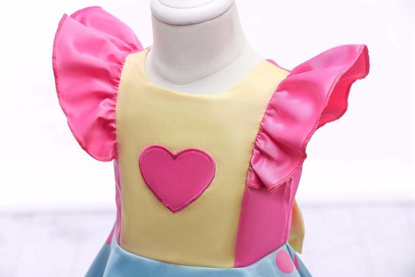 3-8T Kids Summer Princess Dot Petal Sleeve Dress Child Preppy Lolita Style Flower Printed Bow Baby Girl Cute Dresses Birthday Party