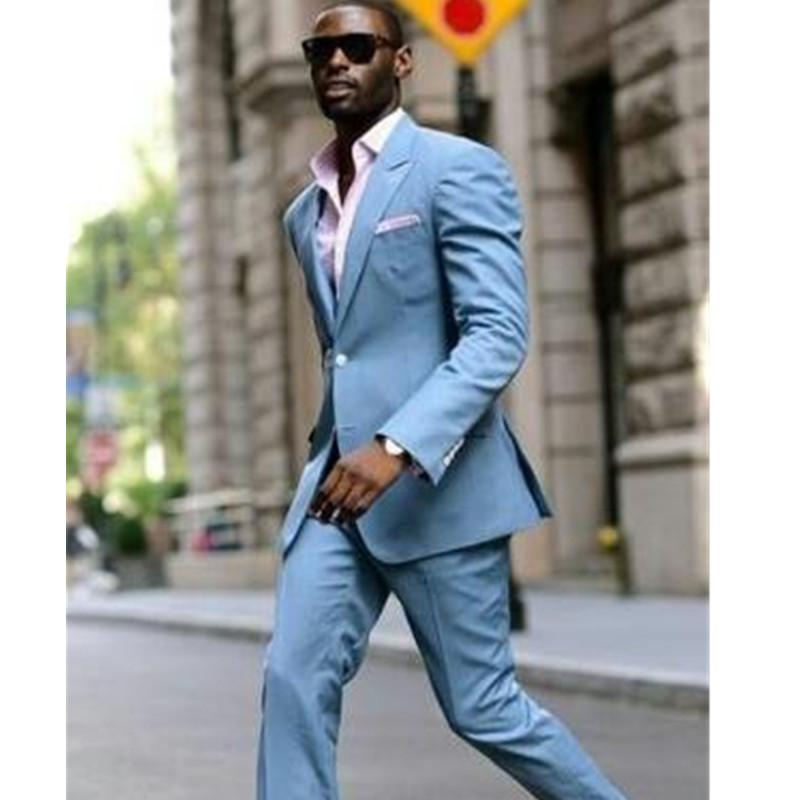 65d740150e42 2019 The Latest Men S Suit Design Light Blue Casual Suit Men S Street Style  Slim Custom 2 Tops And Pants From Topcoat
