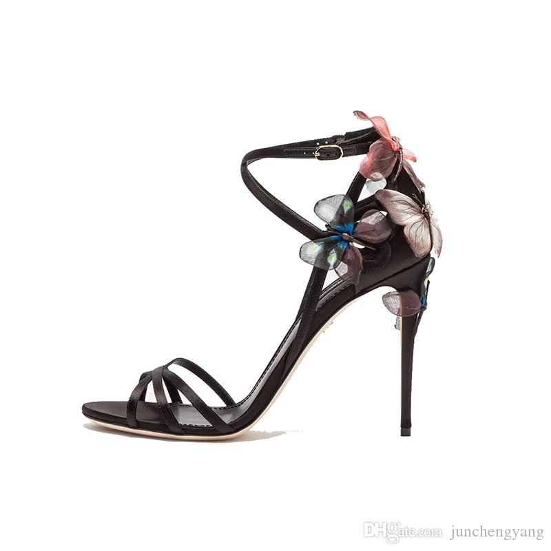 5e2bf4c6115 New Sexy Open Toe Silk Strappy Gladiator Sandals Women Dreamy Butterfly  High Heel Shoes Party Summer Shoes Sandalias Mujer 2018 Jesus Sandals Black  Wedges ...