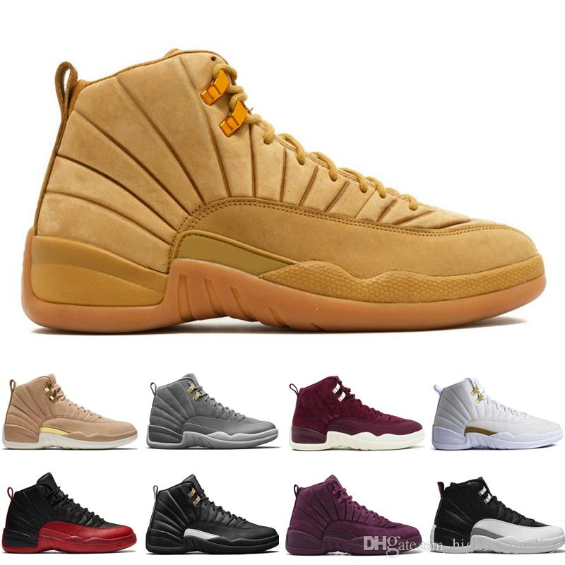 reputable site 1f9bd c44ad Compre Hot 12 12s Hombres Zapatos De Baloncesto Wheat Dark Grey Bordeaux  Flu Game The Master Taxi Playoffs Sunrise Royal Blue Red Gamuza Lana  Deportes ...