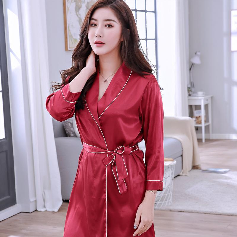 2019 Red Sexy Sleepwear Robes Solid Nightdress Satin Nightgown Female  Kimono Bathrobe Gown Casual Robe Home Clothes Intimate Lingerie From  Lookpack b72ac2336