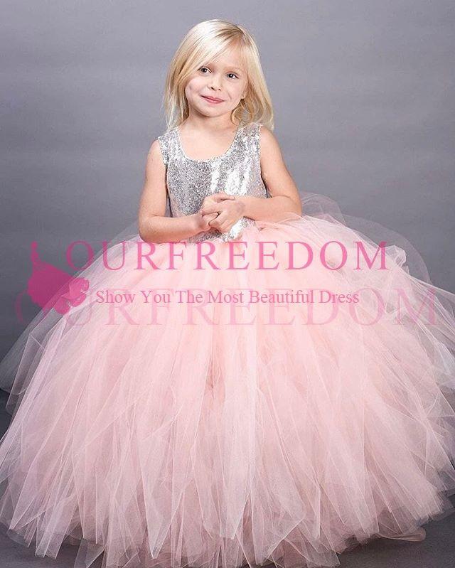 2019 새로운 귀여운 핑크 Tulle 꽃 걸레 드레스 실버 장식 조각 푹신한 볼 가운 첫 성찬 드레스 맞춤 제작 핫 세일 여자 미인 대회 드레스