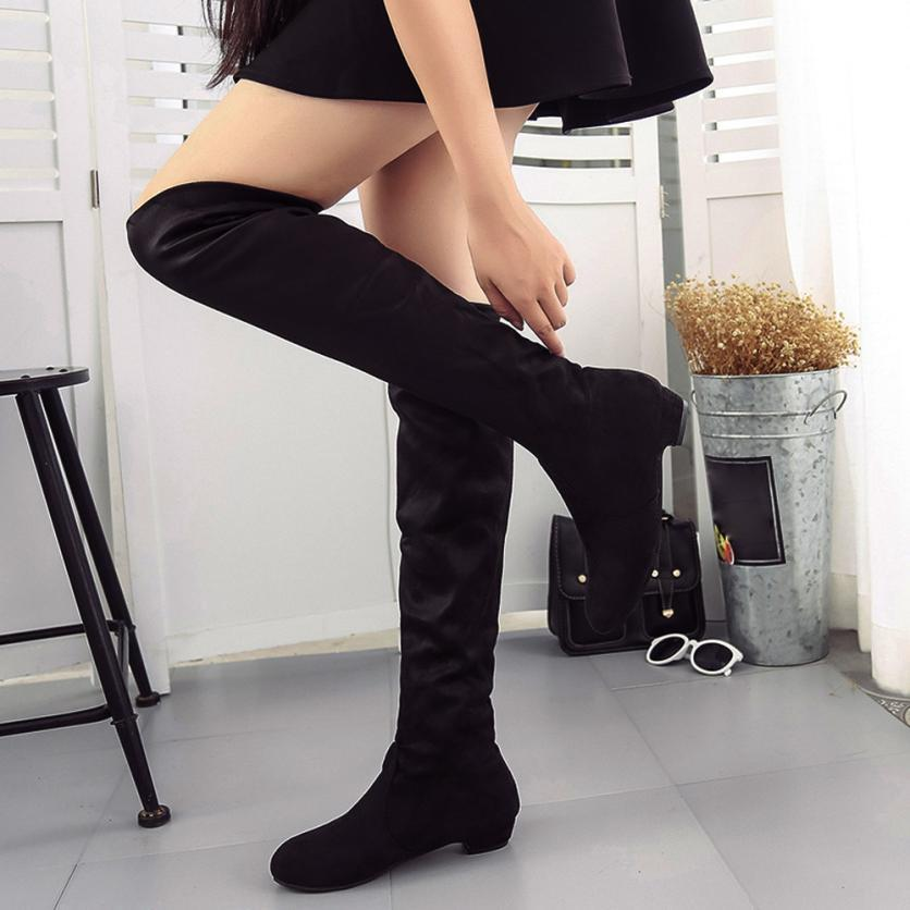 156bb37a6f8 2018 New Fashion Women Winter Autumn Flat Boots Knee High Leg Suede Long  Boots For Female Casual Women Warm High Combat Boots For Women Sexy Shoes  From ...