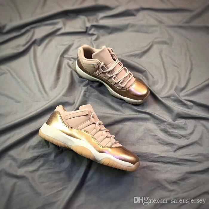 5fbc9154b83 2018 New 11 Low GS Rose Gold Men Women Kids Basketball Shoes High Quality  XI 11s Low Rose Gold Metallic Bronze Big Boy Youths Sneakers Baby Running  Shoes ...