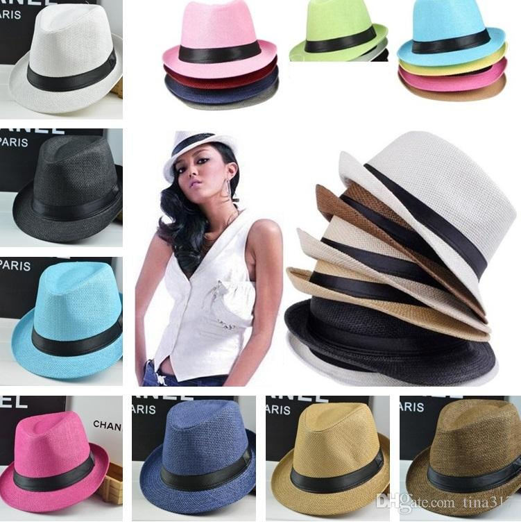 bb4230b73d0 Fashion Men Women Casual Fedora Hat Pinched Crown Beach Sun Cap Panama Hat  Unisex Top Quality Straw Hats Stingy Brim Hats 0350 UK 2019 From Tina317