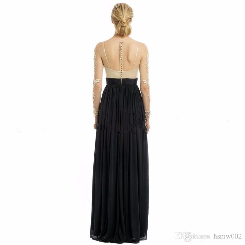 Encantador mangas largas una línea de vestidos de baile sexy ilusión encaje gasa negro hendidura vestidos de baile vestidos de noche formales vestir Vestido De Festa