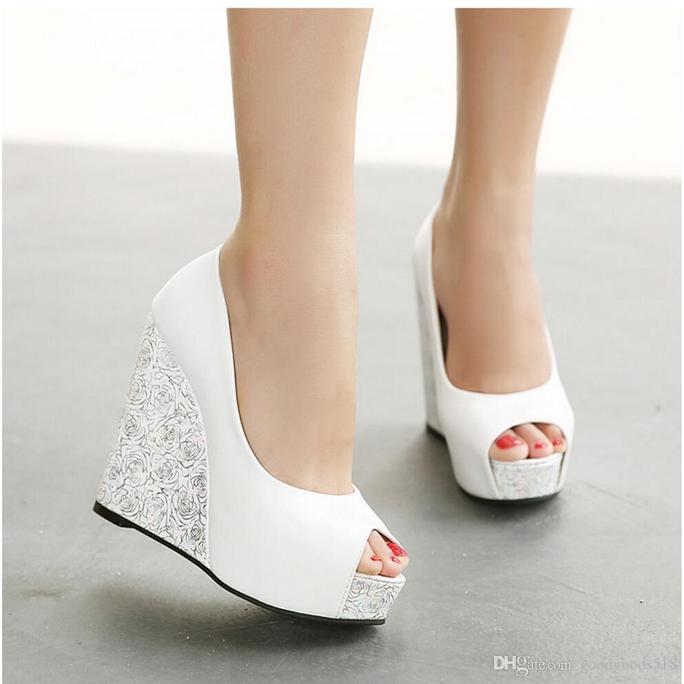 Elegant New 2018 Wedge Heel Bride Wedding Shoes Peep Toe High Heel Platform Bridesmaid  Shoes. Comfortable Shoes Slip On Shoes From Goodgoods518, $32.81| Dhgate.Com