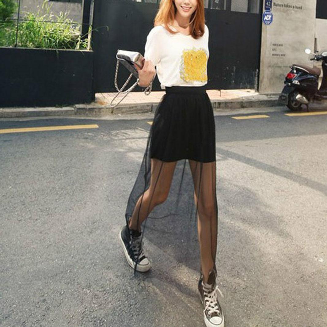 Compre Faldas Largas De La Falda Larga Transparente Atractiva De La Falda  De Las Mujeres Del Verano De La Manera Faldas De Malla Sólidas De La Malla  De La ... 5fb2eb50199f